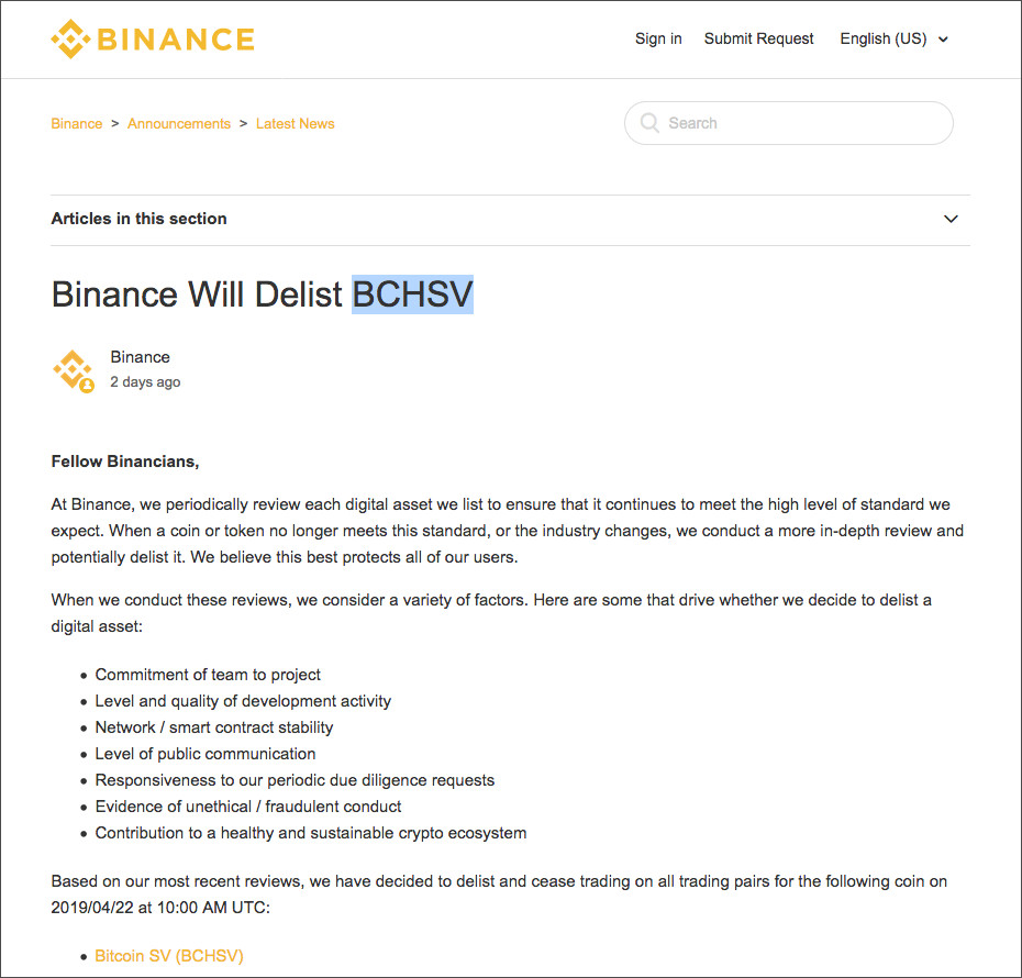 Screenshot der Binance Webseite: News zur Delisting Bitcoin SV