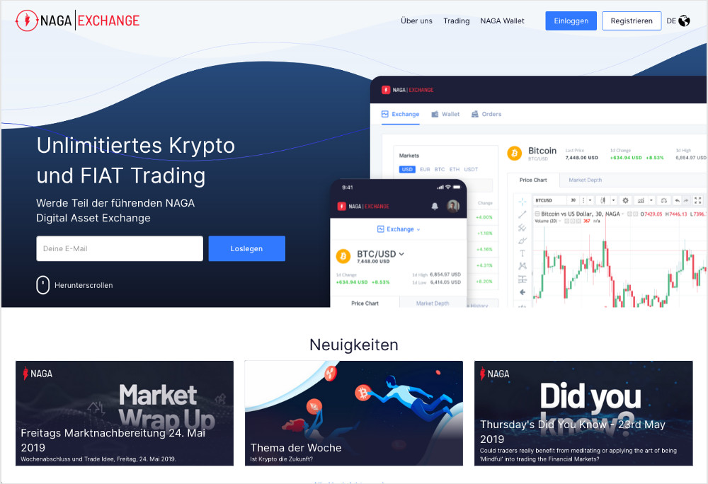 NAGA Exchange Webseite